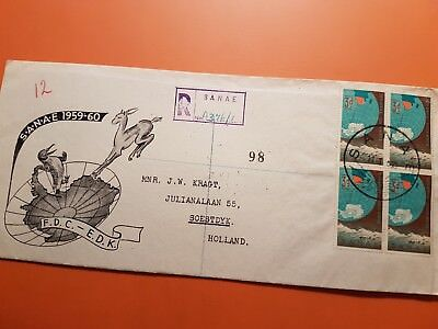 SOUTH AFRICA 1959 cover First South African ANTARTIC expedition.& Cancel SANAE