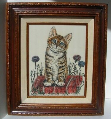 Jacquie Vaux ginger cat kitten framed plaque very detailed & colorful