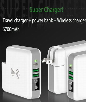 3in1 Super Travel Qi Wireless Charger Power bank 6700mAh for iPhone X 8 Samsung
