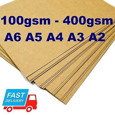 A6 A5 A4 A3 A2 100gsm - 300gsm BROWN KRAFT CARD CRAFT RECYCLED TAG PRINTER PAPER
