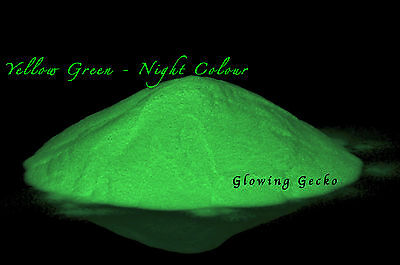 Premium Glow in the Dark pigment powder 10g Course Particle Size Yellow Green