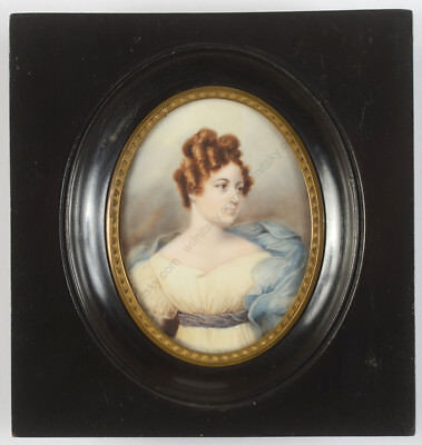 """""""Portrait of a lady from the 1820s"""", Austrian miniature, 2nd half of the 19th c."""