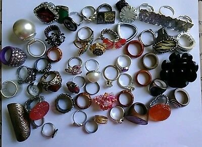 Lot Of 52 Vintage Now Style Rhinestone Rings - Some Adjustable