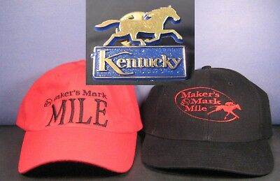 Makers Mark Mile Mens Embroidered Red & Black Cap Hat Lot Keeneland Adjustable