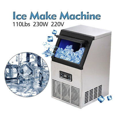 NEW Auto Commercial Ice Maker Making Cube Machine Stainless Steel Bar 110LB 230W