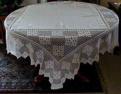 "FAB Antique Linen Hand Made DEEP Lace Tablecloth 72"" SQUARE Tea Supper PRISTINE"