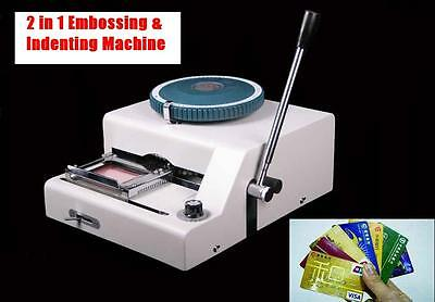 Indentor + Embosser Combo Machine Credit Embossing+Indenting Manual Id Pvc Card