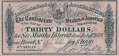 The Confederate States of America - 6% Zinscoupon July 1879 Thirty Dollars