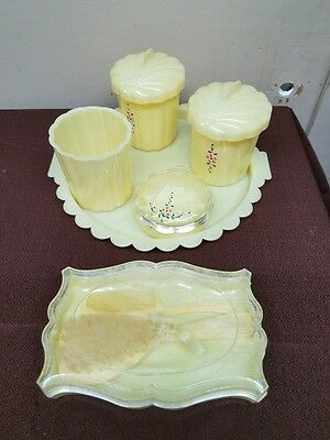 Vintage Baby Nursery Vanity Dresser Set Plastic Containers Lids and Tray