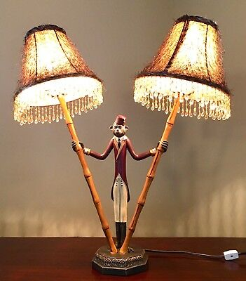 Monkey Bellhop Lamp w/ Bamboo Poles & Mohair Beaded Shades! Tiki Bar Decor?