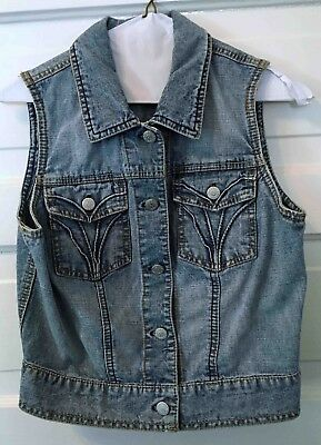 Vintage Kids Children's Blue Jean Denim Vest Unisex Medium