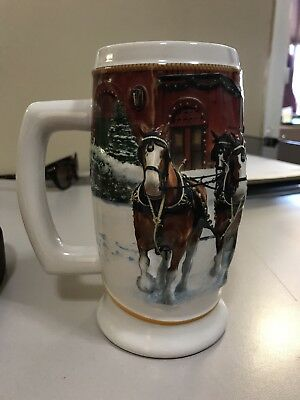 Budweiser Beer Collectible Holiday Stein 2006 Sunset at the Stables Clydesdales