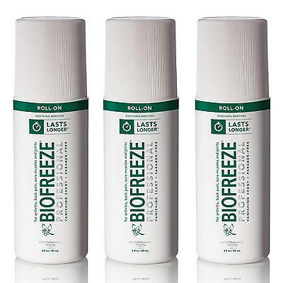 NEW Biofreeze Professional 3oz Roll-On Pain Relief Arthritis Muscle - Pack of 3