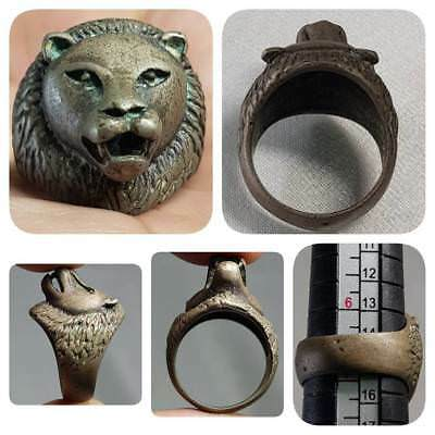 Medieval Old Beautiful Ring With Wild Lion Head Face    # E1