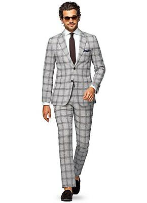 NWT SuitSupply Havana Brown Windowpane Check 38R Suit Supply $699