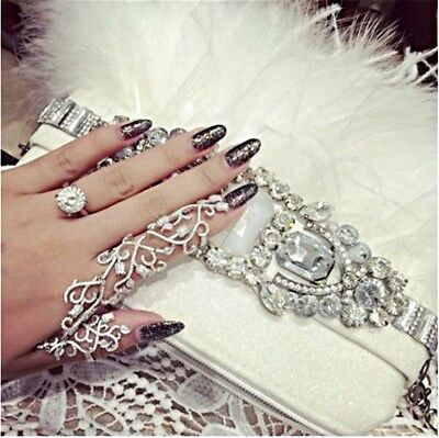 Belly Dance Jewelry Full Finger Knuckle Double Ring Gold Silver Women Indian New