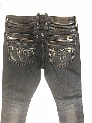 b6672cc511 Nwt Men s Rock Revival Jeans Lean S208 Skinny Motto Size 32 245  Dark Blue