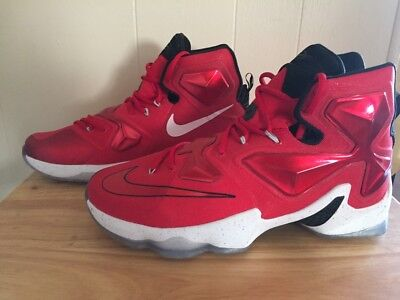 buy online 8a1a7 25941 NIKE LEBRON 13 XIII University Red White Black 807219-610 Size 11.5 On  Court QS