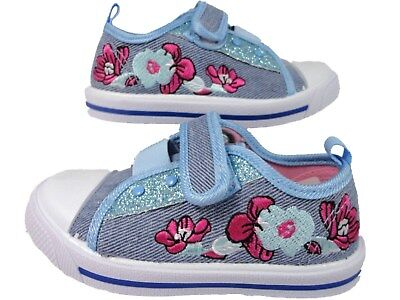 Chatterbox sparkle Girls infants Canvas Denim Pump Trainers Shoes flower design