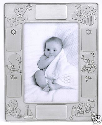 Pewter Engrave-able Baby Picture Frame, Duck/Bear Motif Pewter Baby Photo Frame