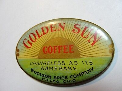 Vintage Celluloid Pocket Mirror Advertising Golden Sky Coffee