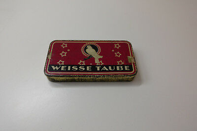 Weisse Taube Tabakdose, alte Blechdose, alte Tabakdose