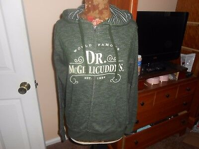Dr. McGillicuddys hoodie Zip up NWOT sz. small Green drawstring Independent T.C.