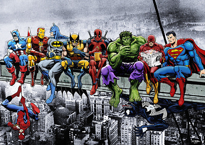 Marvel Dc Comic Superheroes Girder Lunch Atop Skyscraper By Dan Avenell  Poster