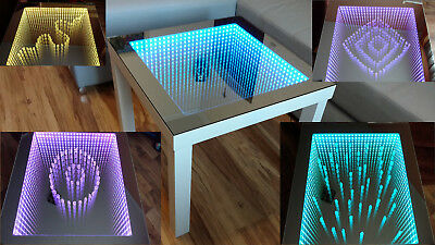 white table led 3d coffee table illuminated infinity mirror effect remote rf. Black Bedroom Furniture Sets. Home Design Ideas