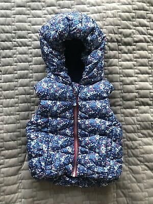 Next Baby Girls Blue Floral Hooded Gilet, 9-12 Months