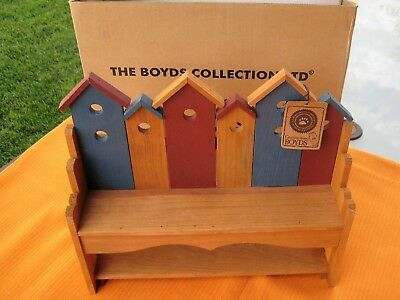BOYDS BEARS ROBIN'S WOODEN BIRDHOUSE BENCH with Original Box  FREE SHIPPING