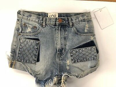 1ac19eb979 Nwt One Teaspoon Women's Outlaws Denim Shorts In Blue Blossom Size 26 128$  Rips