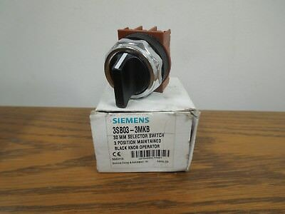 Siemens 3SB03-3MKB 30mm 3 Position Maintained Selector Switch Surplus