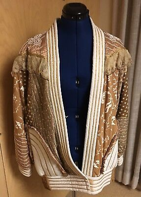 Vtg Judith Ann Creations Wearable Art Gold Glam Rock Leather Beaded Jacket Sz M
