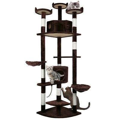 "84"" Cat Tree Condo Furniture Scratch Post Pet Play House Home Gym Tower Brown"