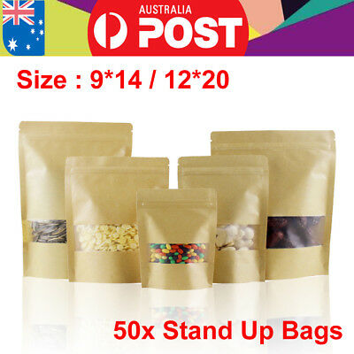 50X 2-size Ziplock Stand Up Pouch Kraft Paper Food Packag Bags With Clear Window