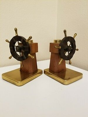 Antique Chase Pilot Book Ends Polished brass with natural walnut