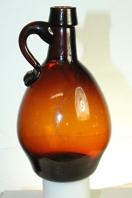 Amber Handled Pontil Whiskey Flask Bottle Pear Shaped 6''