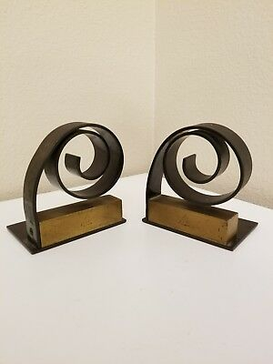 Antique Chase Spiral Bookends English Bronze and English Copper