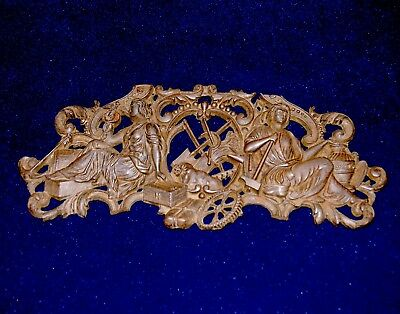 Rare Antique French Cast Iron Figural Furniture Pediment Decor  16 1/2""
