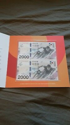 South Korea 2,000 Uncut 2000 Won 2018 2017 Winter Olympic Comm. Unc With Folder
