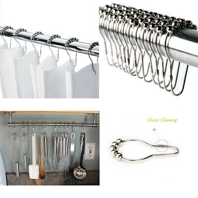 5 pcs Shower Curtain Hooks Rustproof Stainless Steel Shower Glide Curtain Rings