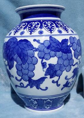 Classic Blue and White Oriental / Asian Porcelain Vase With Grapes and Leaves