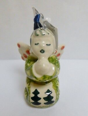 Boleslawiec Polish Pottery WIZA Angel Pine Trees Pattern Christmas Ornament