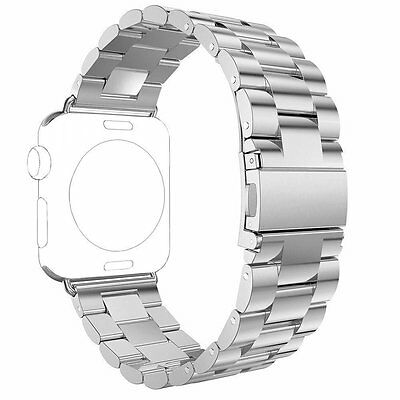 UK Stainless Steel Strap Watch Band&Adapter Watch iWatch Series 3 2 1 42mm