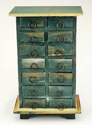 Vintage Primitive 14-Drawer Tabletop Spice Cabinet Apothecary Chest Green Paint