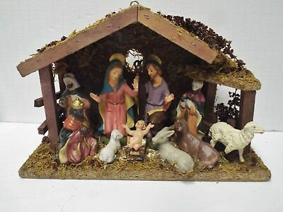 Vintage Fontanini Depose Italy Nativity Set (Spider Mark) 12 Pieces, Wood Manger