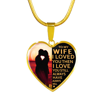 8a2c2dff0476 To My Wife I Love You Luxury Gold Necklace Birthday Gift Husband Anniversary