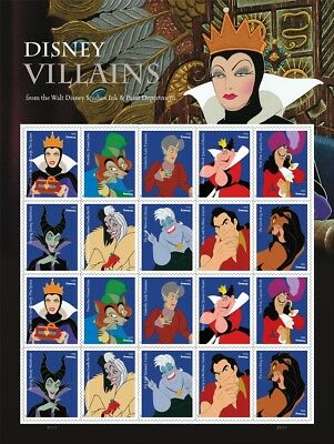 One Book Of 20 Disney Villains Usps First Class Forever Postage Stamps