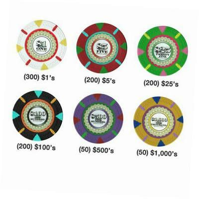 1000-count 'the mint' poker chip set in acrylic case, 13.5gm